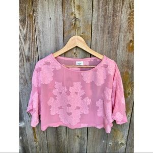 ARITZIA WILFRED blayze blouse floral pink XS